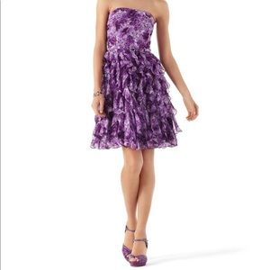 Purple Floral Strapless Dress